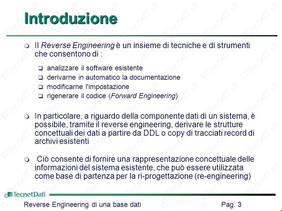 Introduzione Il Reverse Engineering è un insieme di tecniche e di strumenti che consentono di : analizzare il software esistente