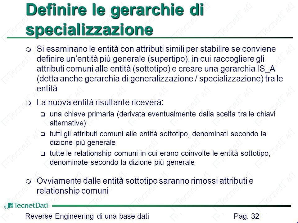 Definire le gerarchie di specializzazione