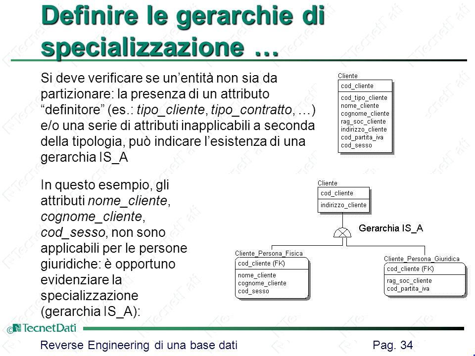 Definire le gerarchie di specializzazione …