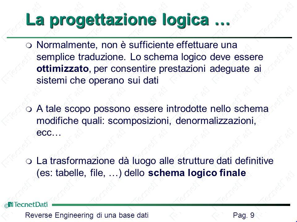 La progettazione logica …