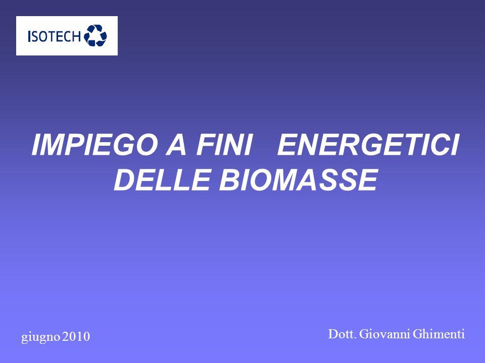 IMPIEGO A FINI ENERGETICI DELLE BIOMASSE