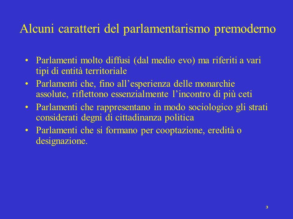 Alcuni caratteri del parlamentarismo premoderno