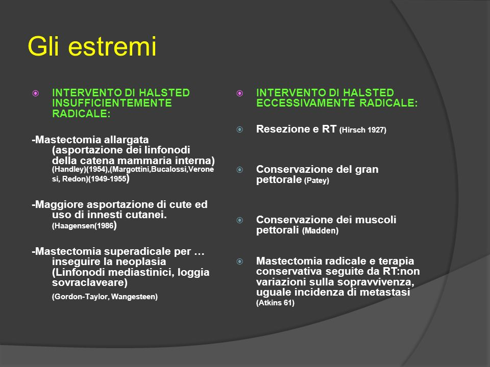 Gli estremi INTERVENTO DI HALSTED INSUFFICIENTEMENTE RADICALE: