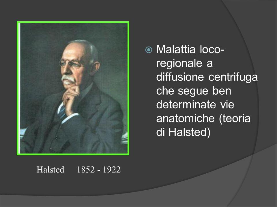 Malattia loco-regionale a diffusione centrifuga che segue ben determinate vie anatomiche (teoria di Halsted)