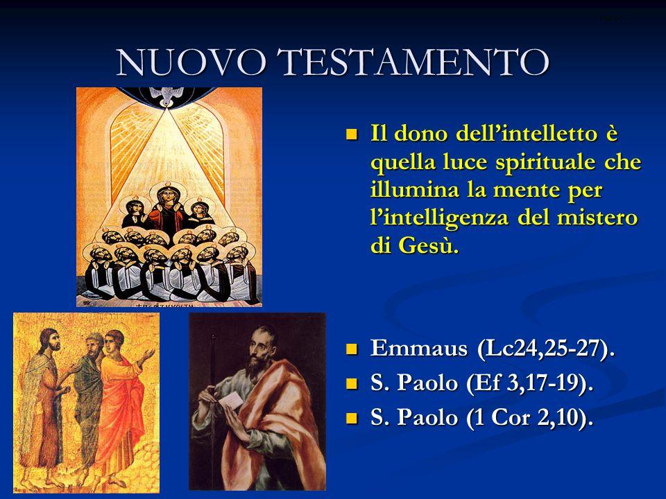 ritardo NUOVO TESTAMENTO. Il dono dell'intelletto è quella luce spirituale che illumina la mente per l'intelligenza del mistero di Gesù.