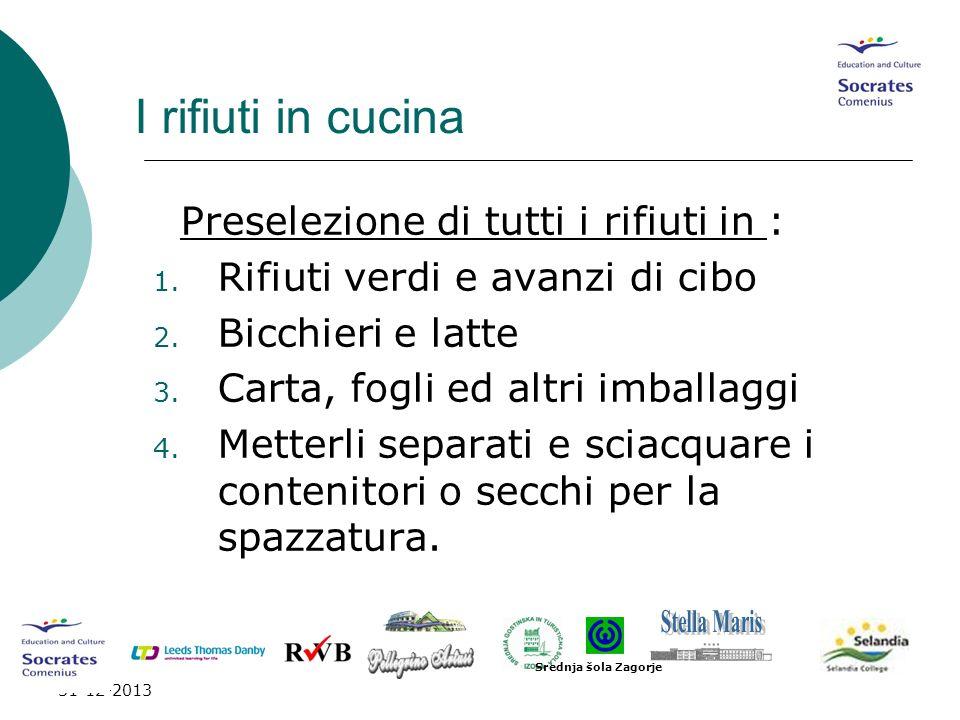I rifiuti in cucina Preselezione di tutti i rifiuti in :