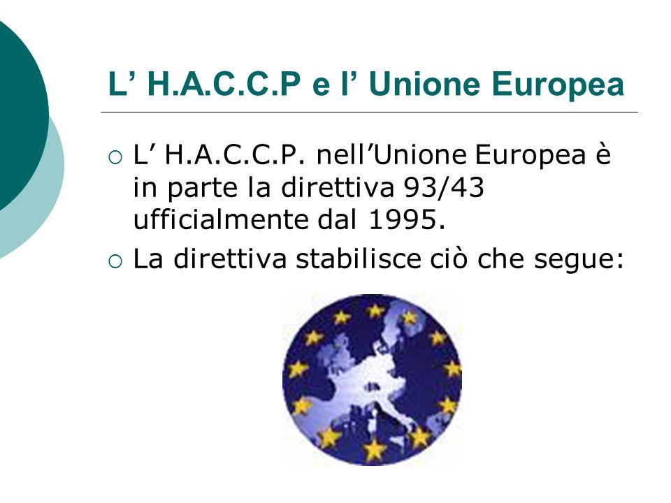L' H.A.C.C.P e l' Unione Europea