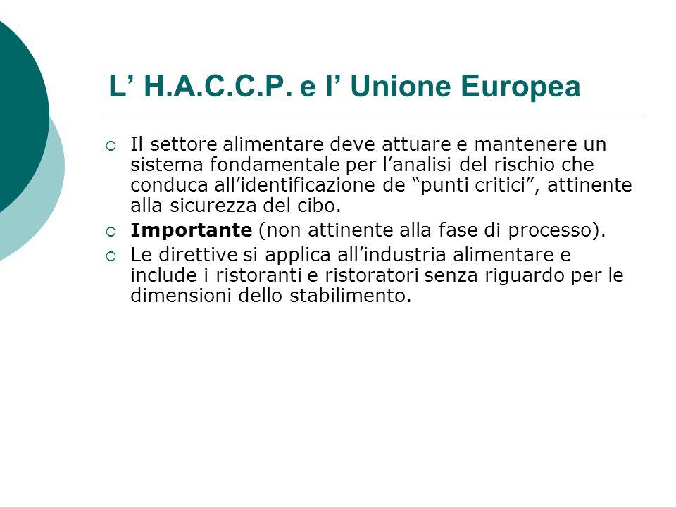 L' H.A.C.C.P. e l' Unione Europea