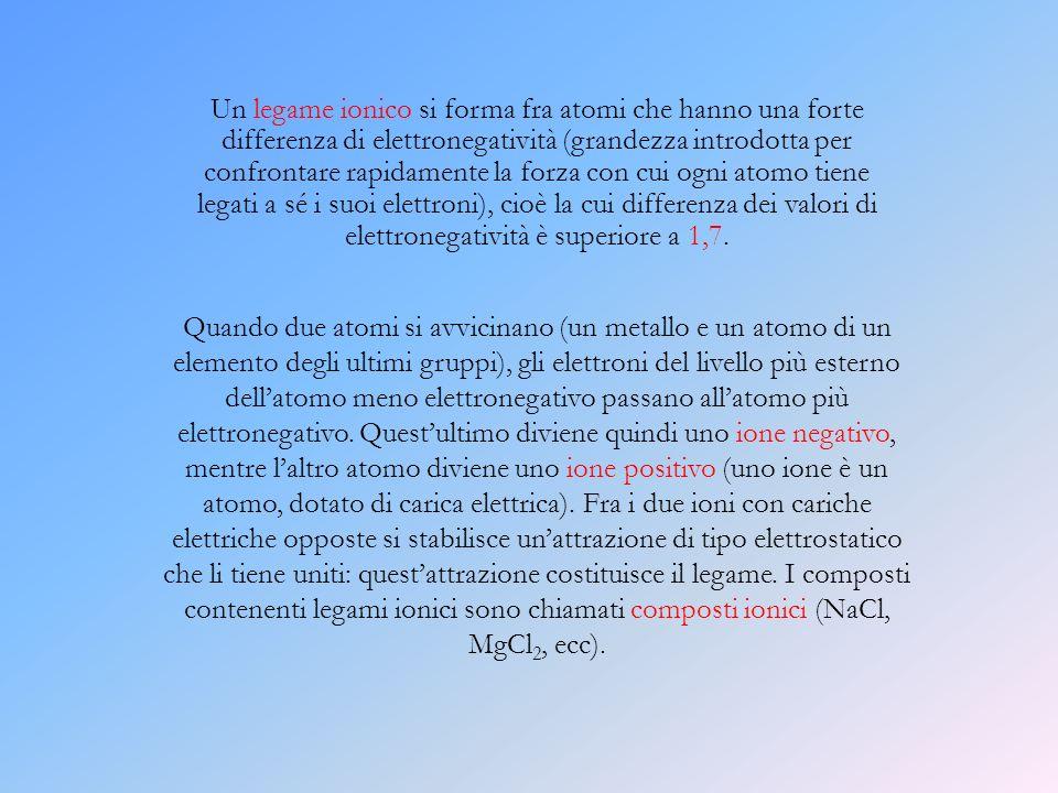Un legame ionico si forma fra atomi che hanno una forte differenza di elettronegatività (grandezza introdotta per confrontare rapidamente la forza con cui ogni atomo tiene legati a sé i suoi elettroni), cioè la cui differenza dei valori di elettronegatività è superiore a 1,7.