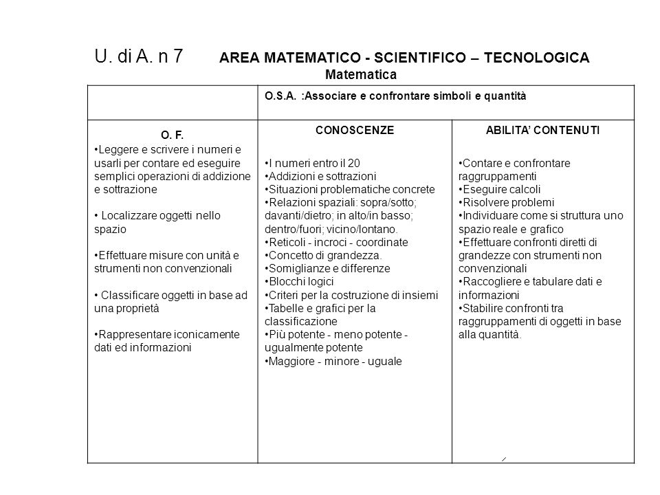 U. di A. n 7 AREA MATEMATICO - SCIENTIFICO – TECNOLOGICA