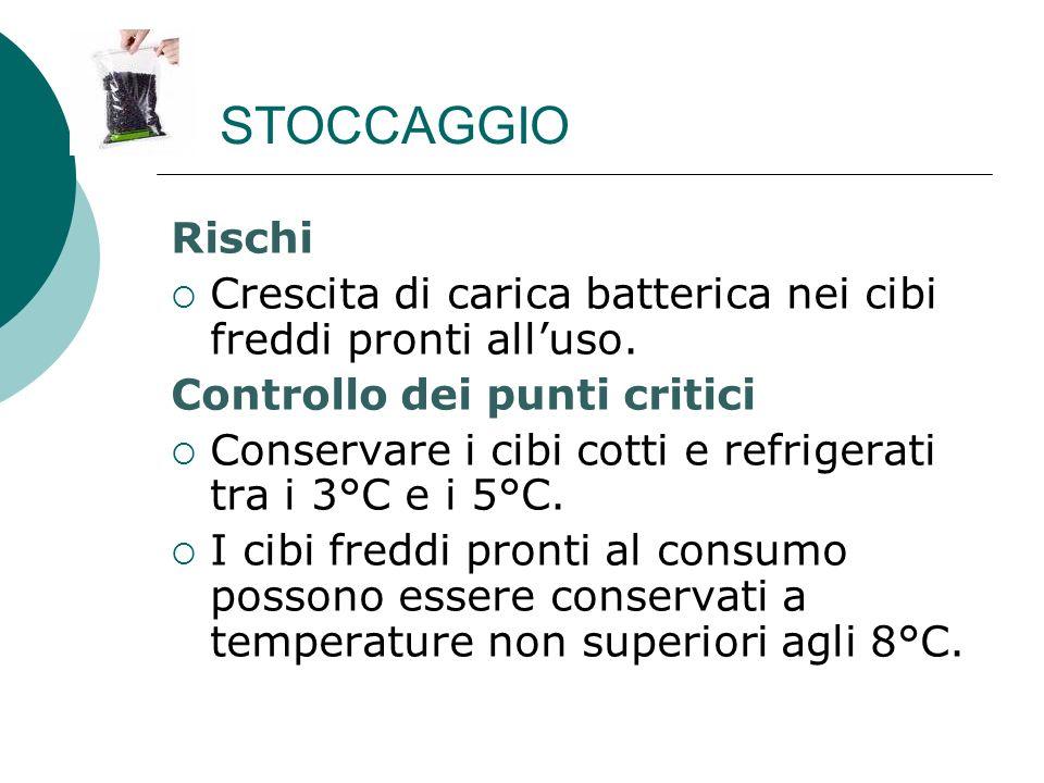 STOCCAGGIO Rischi. Crescita di carica batterica nei cibi freddi pronti all'uso. Controllo dei punti critici.