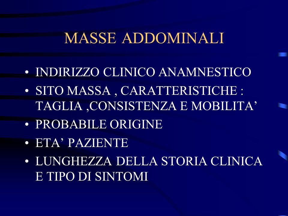 MASSE ADDOMINALI INDIRIZZO CLINICO ANAMNESTICO