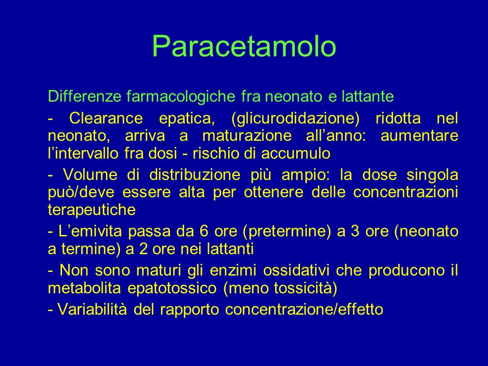 Paracetamolo Differenze farmacologiche fra neonato e lattante