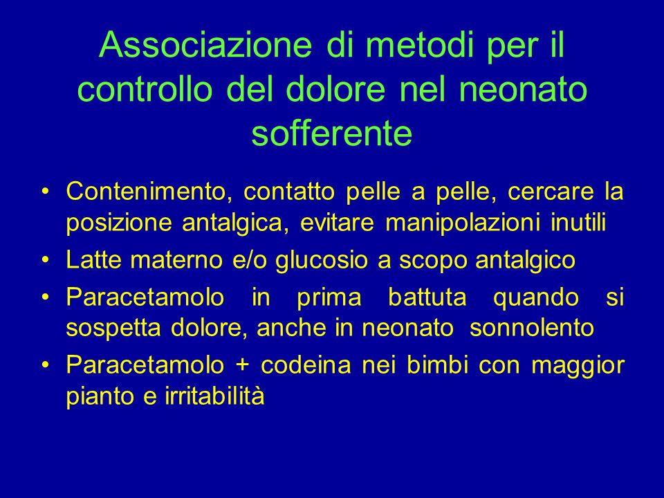 Associazione di metodi per il controllo del dolore nel neonato sofferente