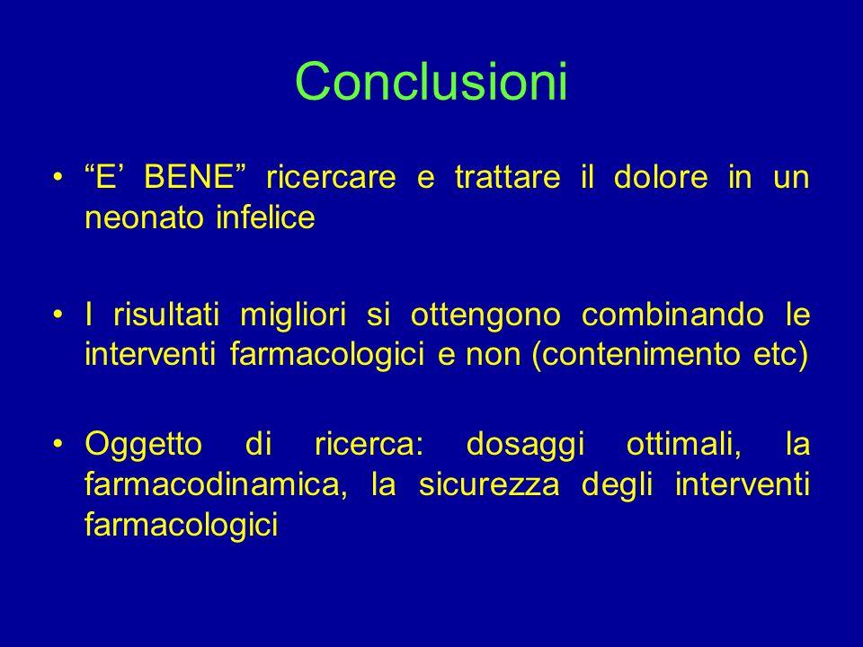 Conclusioni E' BENE ricercare e trattare il dolore in un neonato infelice.