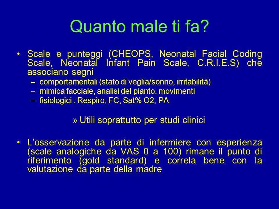 Quanto male ti fa Scale e punteggi (CHEOPS, Neonatal Facial Coding Scale, Neonatal Infant Pain Scale, C.R.I.E.S) che associano segni.