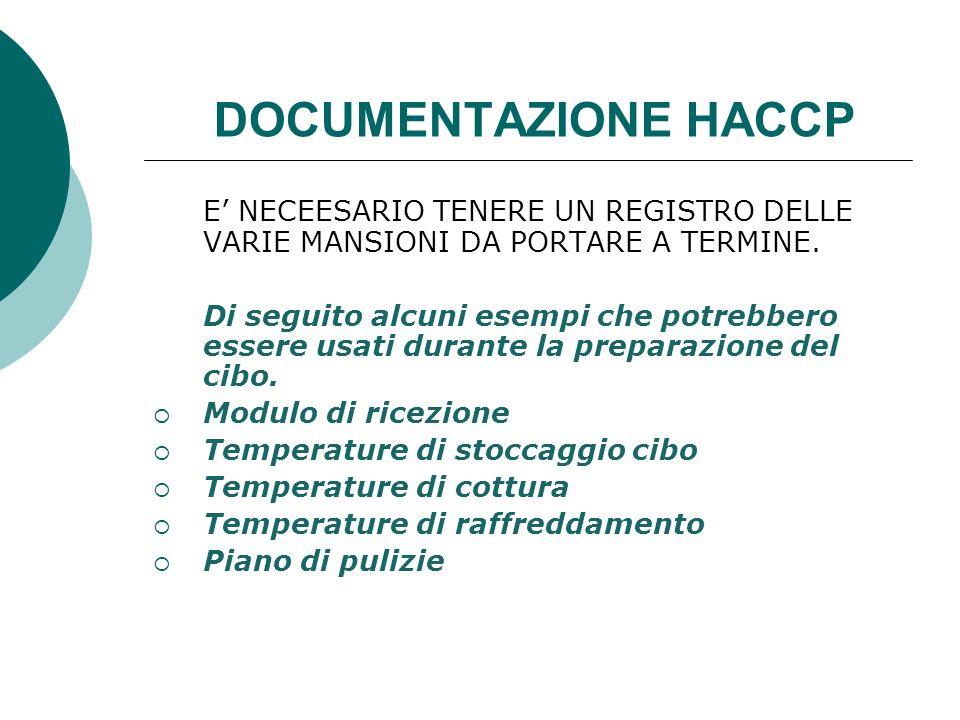 DOCUMENTAZIONE HACCP E' NECEESARIO TENERE UN REGISTRO DELLE VARIE MANSIONI DA PORTARE A TERMINE.