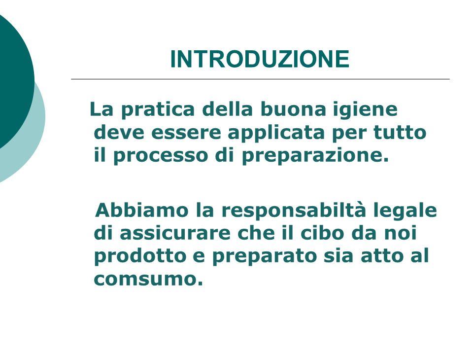 INTRODUZIONE La pratica della buona igiene deve essere applicata per tutto il processo di preparazione.