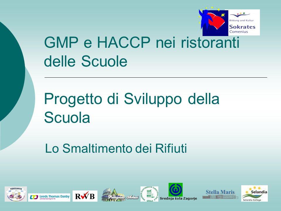 GMP e HACCP nei ristoranti delle Scuole Progetto di Sviluppo della Scuola. Lo Smaltimento dei Rifiuti.