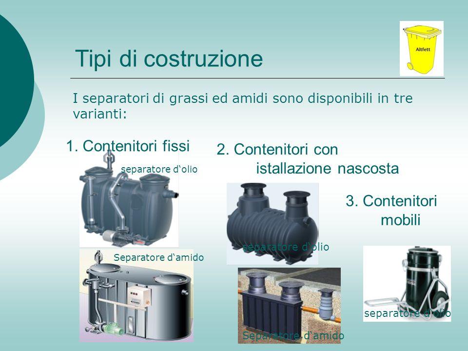 Tipi di costruzione 1. Contenitori fissi