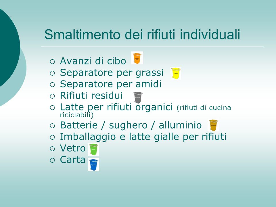 Smaltimento dei rifiuti individuali