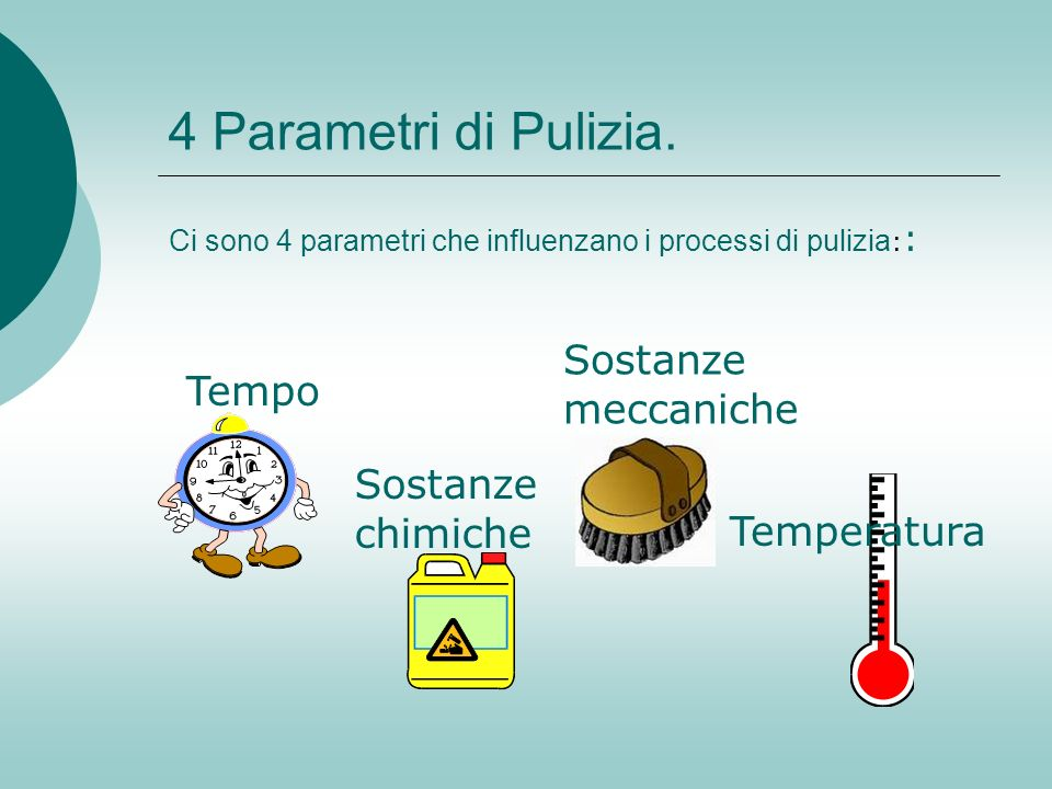4 Parametri di Pulizia. Sostanze meccaniche Tempo Sostanze chimiche