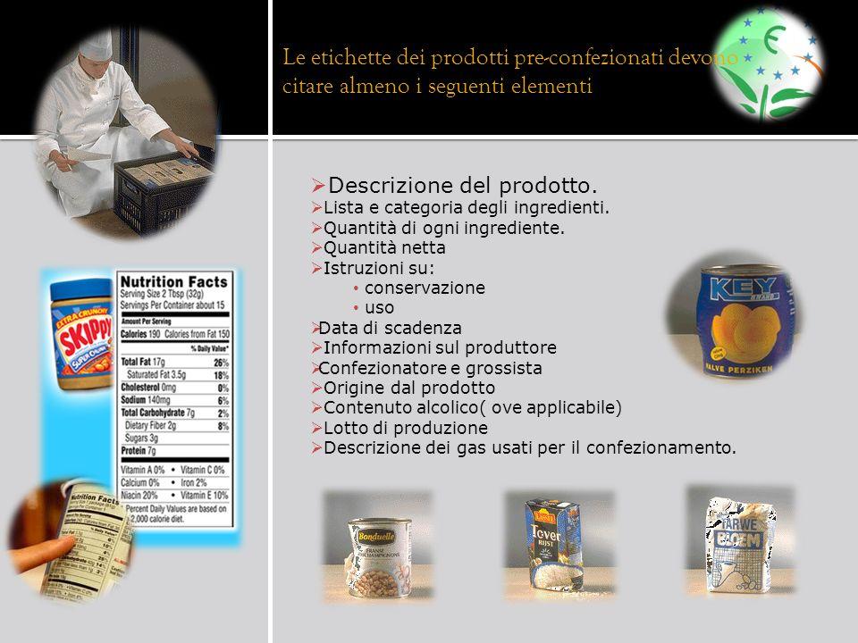 Le etichette dei prodotti pre-confezionati devono citare almeno i seguenti elementi