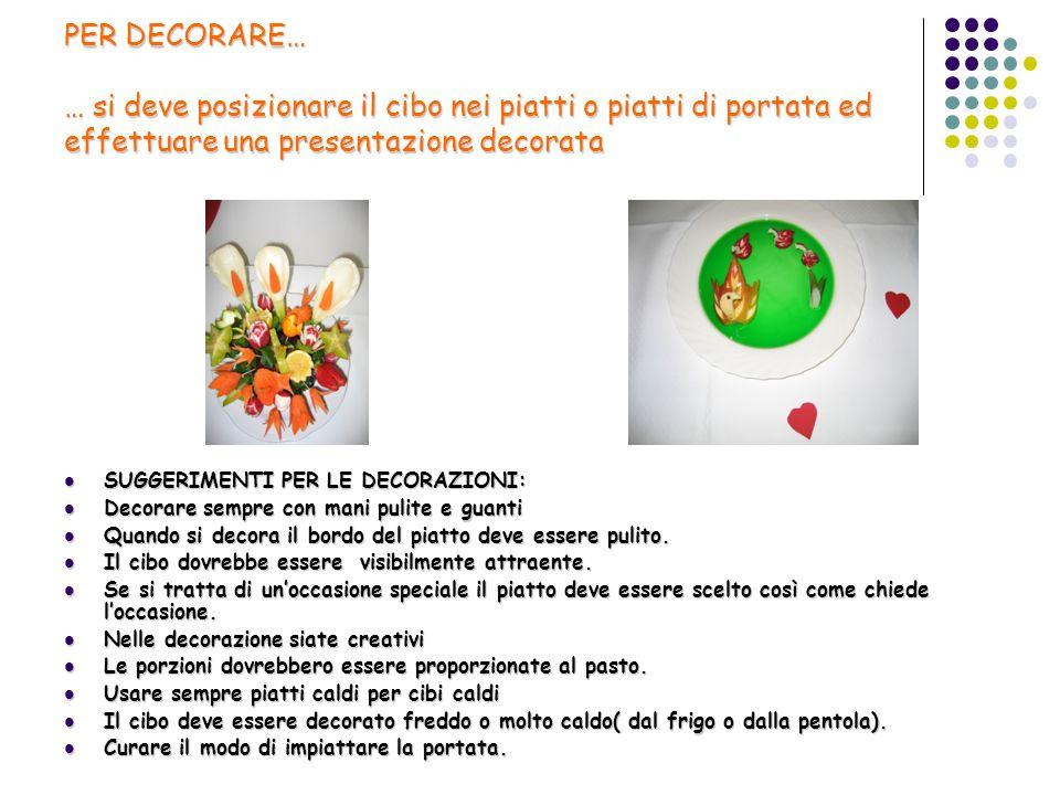 PER DECORARE… … si deve posizionare il cibo nei piatti o piatti di portata ed effettuare una presentazione decorata