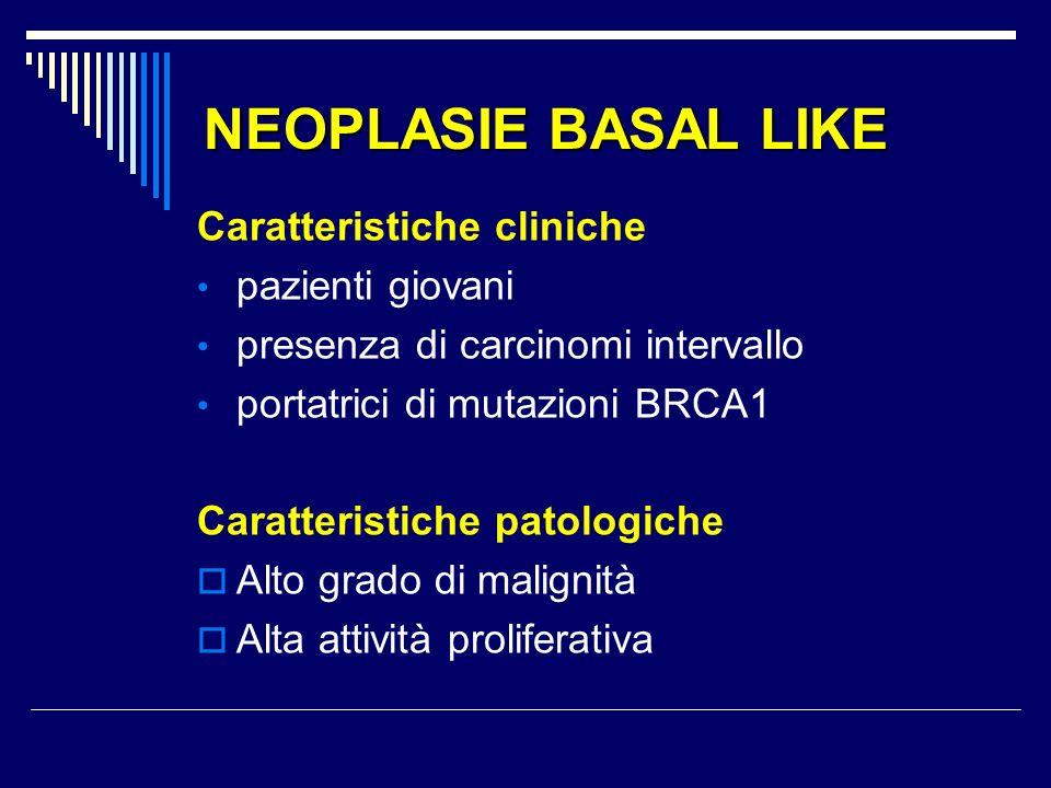 NEOPLASIE BASAL LIKE Caratteristiche cliniche pazienti giovani