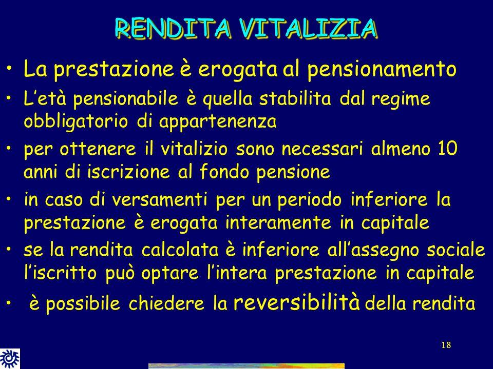 RENDITA VITALIZIA La prestazione è erogata al pensionamento