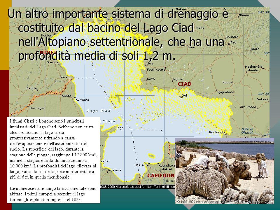 Un altro importante sistema di drenaggio è costituito dal bacino del Lago Ciad nell Altopiano settentrionale, che ha una profondità media di soli 1,2 m.