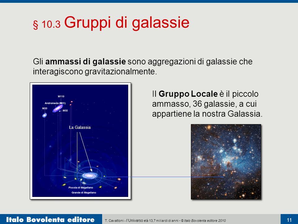 § 10.3 Gruppi di galassie Gli ammassi di galassie sono aggregazioni di galassie che interagiscono gravitazionalmente.
