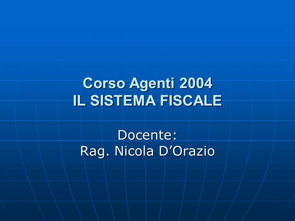 Corso Agenti 2004 IL SISTEMA FISCALE