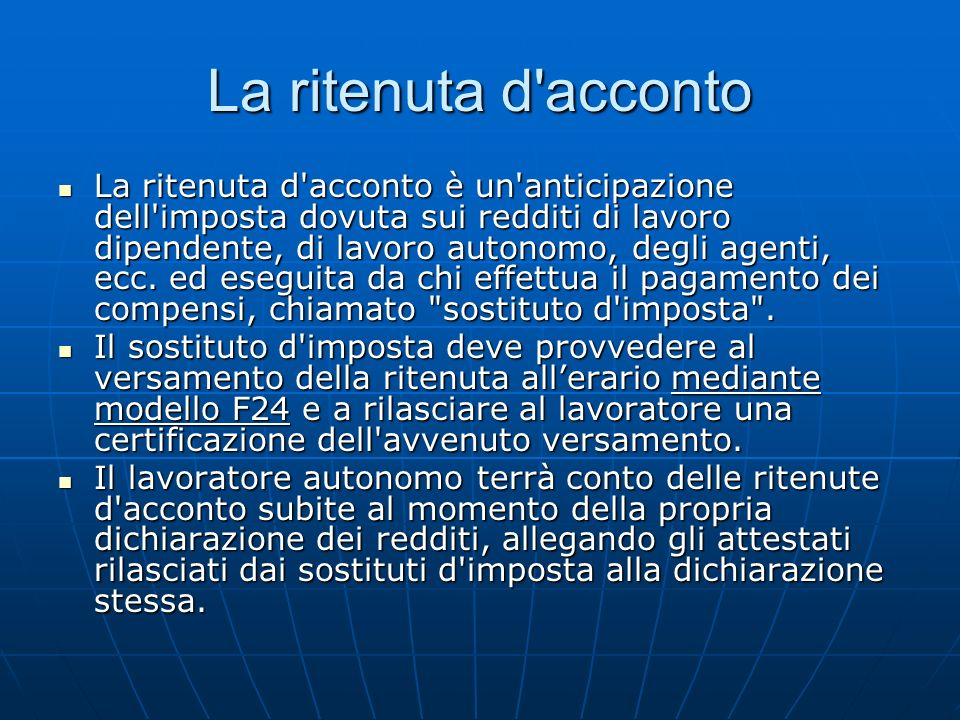 La ritenuta d acconto