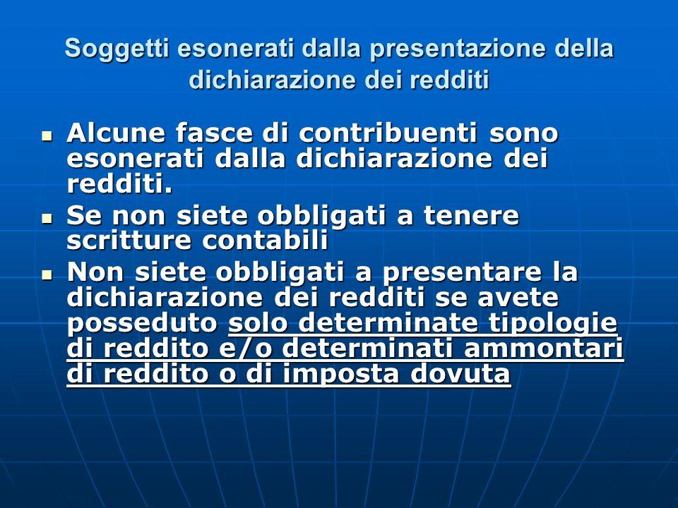 Soggetti esonerati dalla presentazione della dichiarazione dei redditi