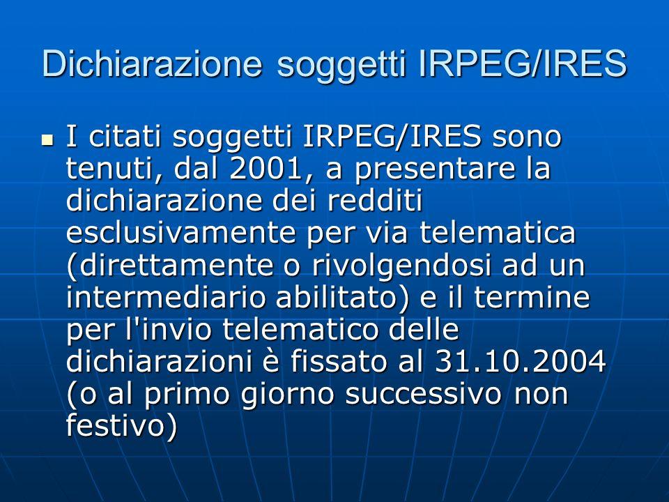 Dichiarazione soggetti IRPEG/IRES