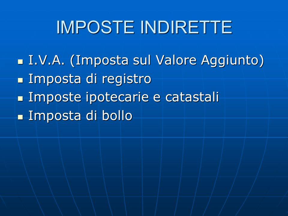 IMPOSTE INDIRETTE I.V.A. (Imposta sul Valore Aggiunto)