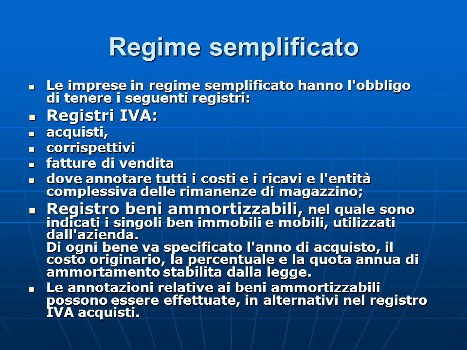 Regime semplificato Registri IVA: