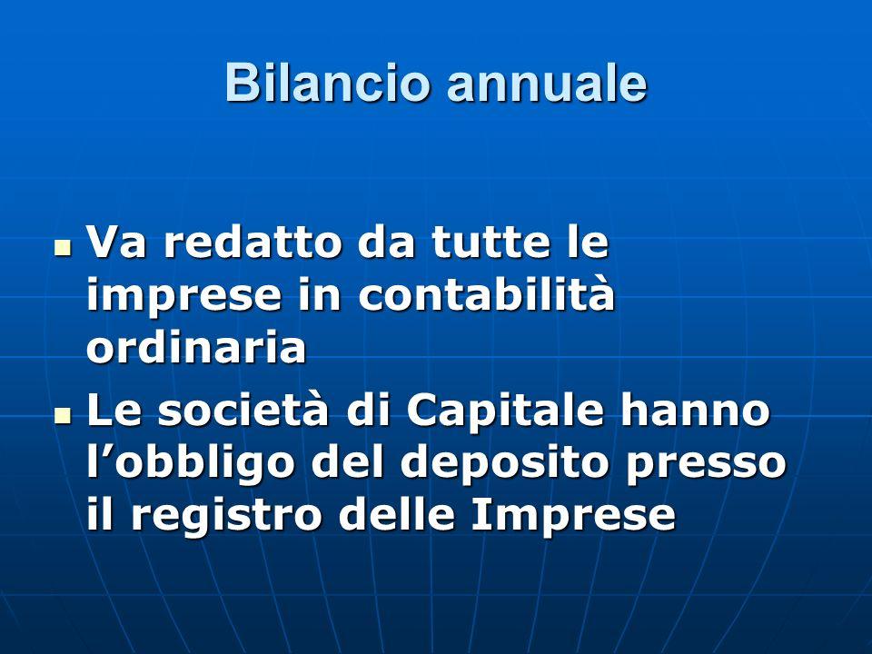 Bilancio annuale Va redatto da tutte le imprese in contabilità ordinaria.