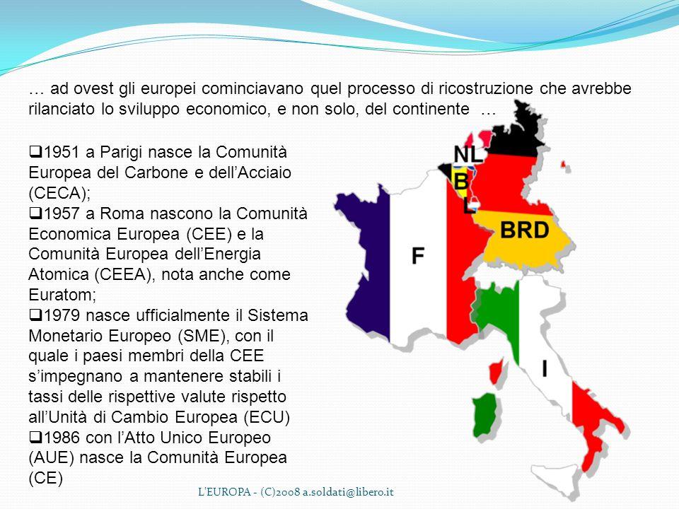 1986 con l'Atto Unico Europeo (AUE) nasce la Comunità Europea (CE)