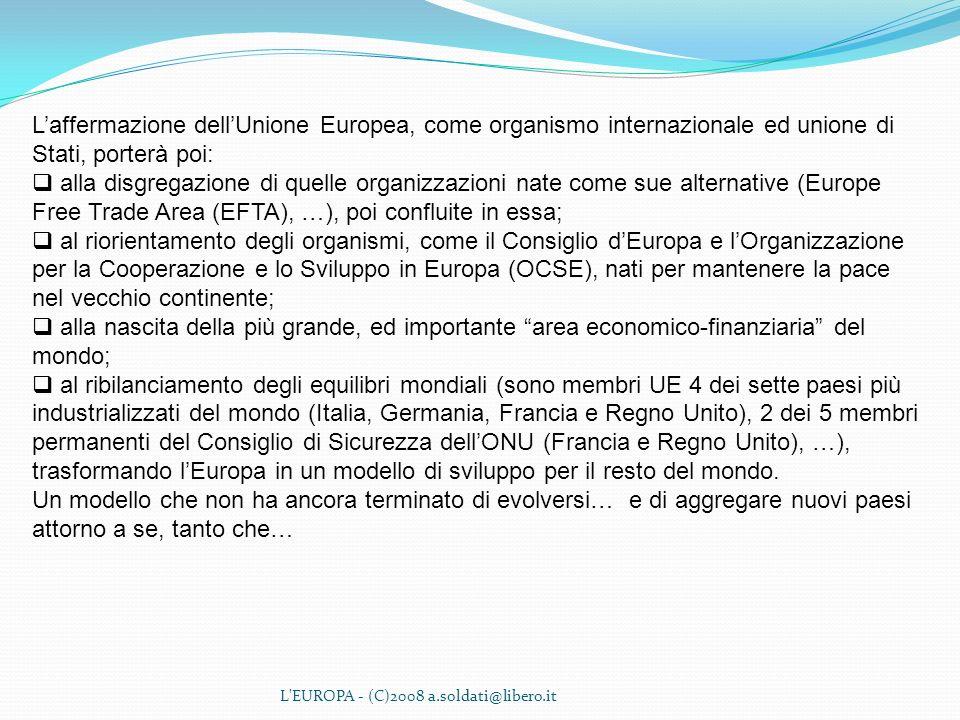 L'affermazione dell'Unione Europea, come organismo internazionale ed unione di Stati, porterà poi: