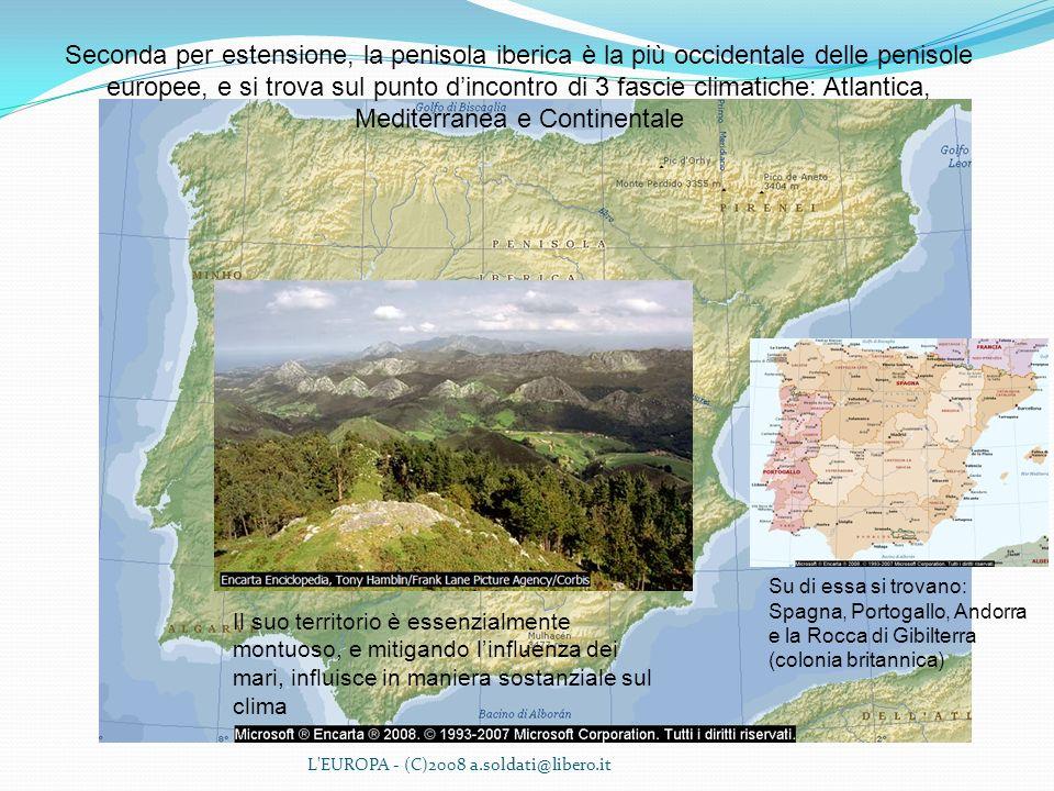 Seconda per estensione, la penisola iberica è la più occidentale delle penisole europee, e si trova sul punto d'incontro di 3 fascie climatiche: Atlantica, Mediterranea e Continentale