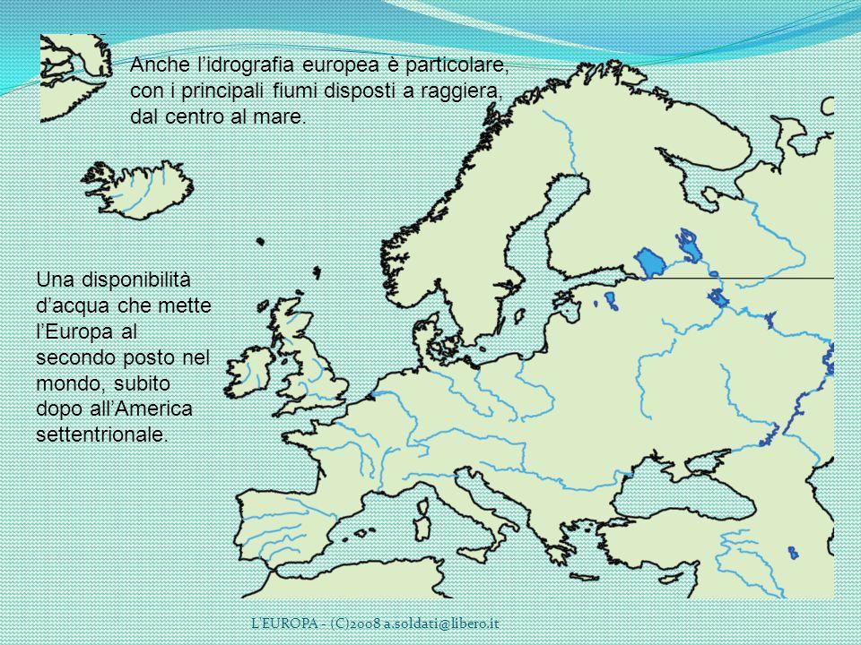 Anche l'idrografia europea è particolare, con i principali fiumi disposti a raggiera, dal centro al mare.