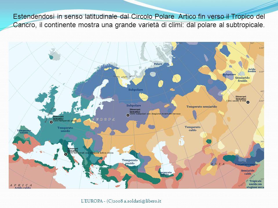 Estendendosi in senso latitudinale dal Circolo Polare Artico fin verso il Tropico del Cancro, il continente mostra una grande varietà di climi: dal polare al subtropicale.