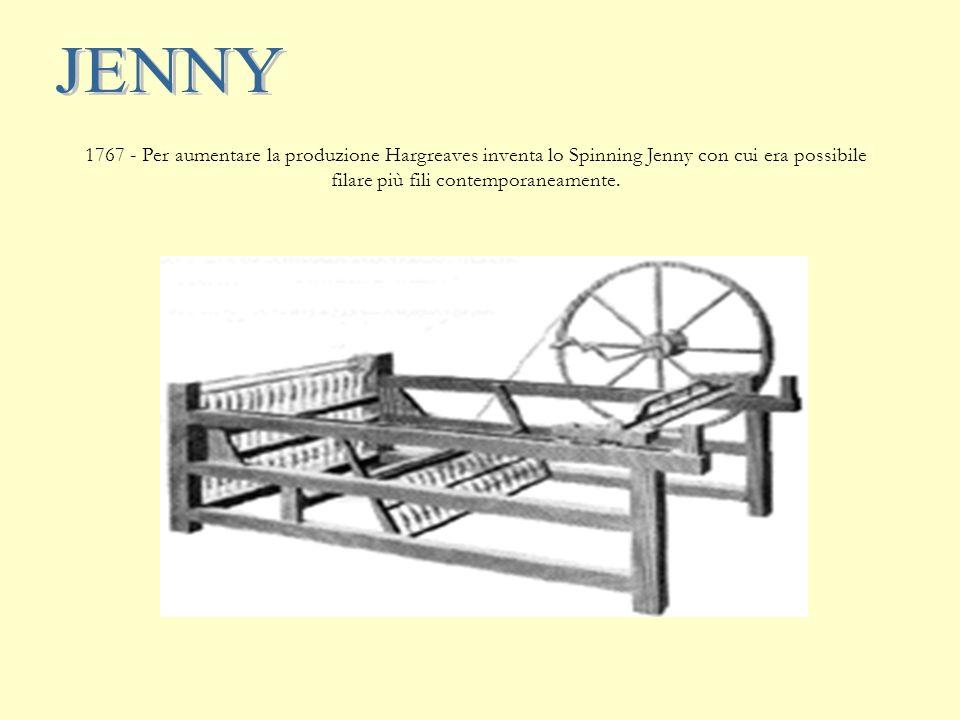 JENNY 1767 - Per aumentare la produzione Hargreaves inventa lo Spinning Jenny con cui era possibile filare più fili contemporaneamente.