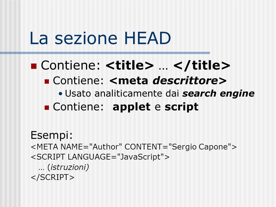 La sezione HEAD Contiene: <title> … </title>