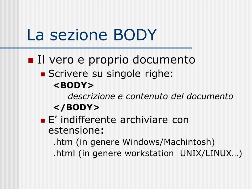 La sezione BODY Il vero e proprio documento Scrivere su singole righe: