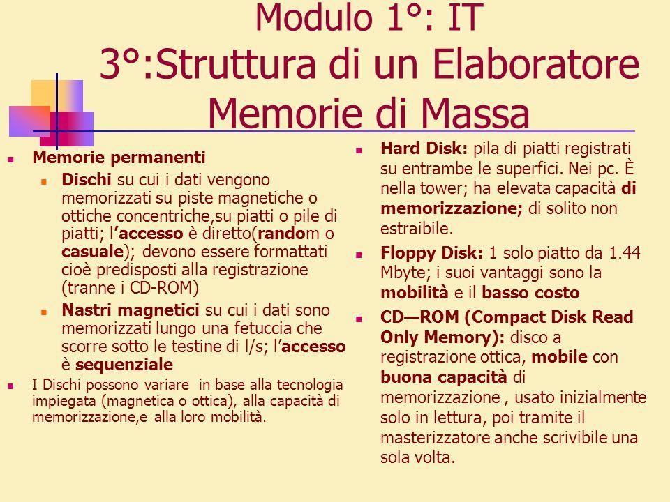 Modulo 1°: IT 3°:Struttura di un Elaboratore Memorie di Massa