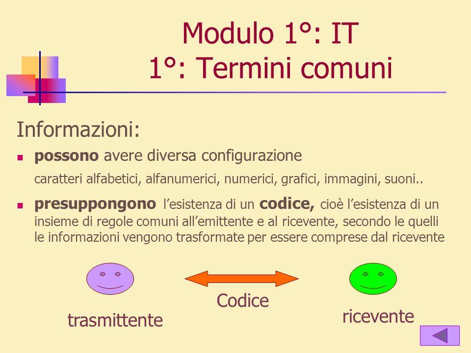 Modulo 1°: IT 1°: Termini comuni