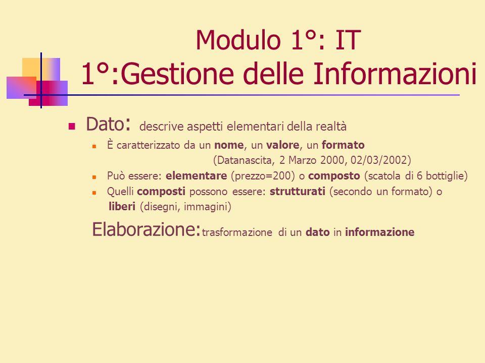 Modulo 1°: IT 1°:Gestione delle Informazioni